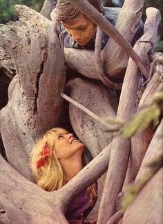 Brigitte Bardot on her honeymoon in Tahiti with third husband Gunter Sachs, 1966.