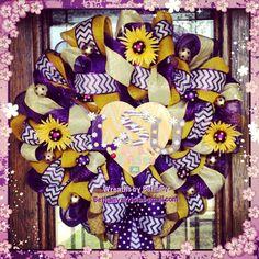 Custom deluxe LSU Chevron burlap decomesh wreath for a teachers classroom! Geaux Tigers!
