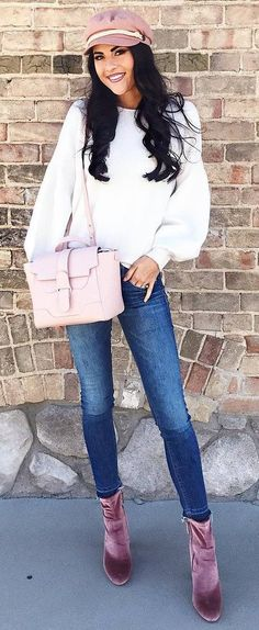 casual style perfection / hat + white top + blush bag + skinnies + velvet boots