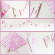 Pretty In Pink floral bunting. Stunning bunting made from high quality pink and white floral fabrics. 14 double sided flags each measuring sewn into white bias binding. Loops at each end for easy hanging. Bedroom Bunting, Pink Bunting, Girl Decor, Pink Candy, Birthday Gifts For Her, Floral Fabric, Girls Bedroom, Pretty In Pink, Flags