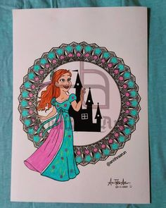 Giselle 👸 Mandala Artwork, Disney Princesses, Mandala Design, Frame, Decor, Picture Frame, Decoration, Decorating, Frames