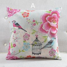 American country flower bird throw pillows for home decoration