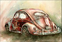 Una ventana Oval VW Bug en profundo rojo por MichaelDavidSorensen