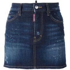 Dsquared2 paint splatter denim skirt ($330) ❤ liked on Polyvore featuring skirts, mini skirts, blue, blue skirt, distressed denim mini skirt, short blue skirt, button-front denim skirts and zipper skirt