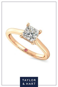 Create your own beautiful  diamond solitaire engagement ring.The Bliss combines a princess diamond centre with a four claw setting set in 18ct rose gold. Why not repin to your own inspiration board? #engagement #engagementring #solitaire #diamond #rosegold