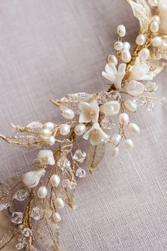 Gold pearl wedding headpiece_Bespoke by Percy Handmade