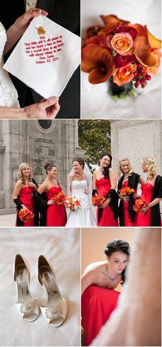 Wedding party in red