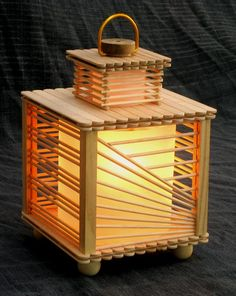 Lamp made from popsicle sticks.