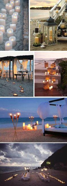 Beach Wedding Lighting by Candlelight