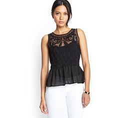 Forever 21 Women's  Embroidered Mesh Peplum Top ($14) ❤ liked on Polyvore featuring tops, black, sleeveless peplum top, embroidered top, sleeveless tops, sheer top and sheer embroidered top