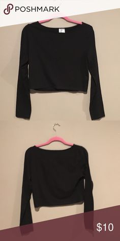 Black Jersey Long Sleeve Crop Top Shirt H&M black jersey crop top L. New with out tags never worn. H&M Tops Crop Tops