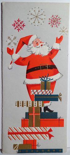 50s Mid Century Modern Santa Vintage Christmas Card 1439 | eBay