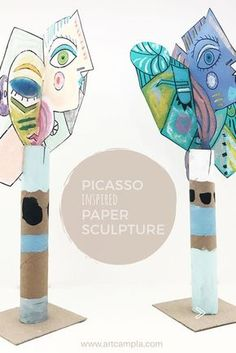 Picasso Style Paper Sculpture | art lessons for kids | Picasso art projects | Recycled paper tube art