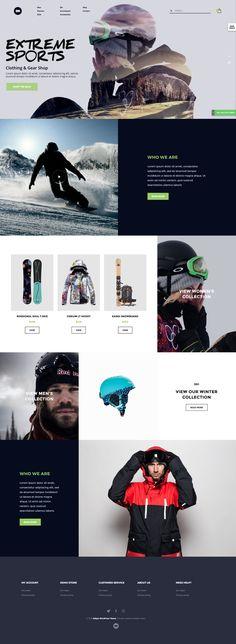 Extreme sports website layout. WordPress theme. Sport website design. Surf, Motorsport, Enduro, Moto-X, Motocross, Ski, Motorcycle, Mountain Bike, MTB.
