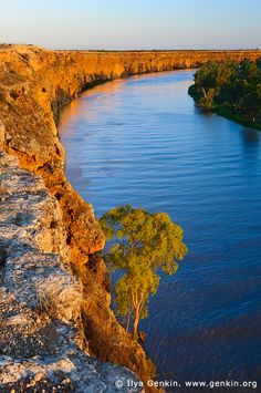 Big Bend at Sunset, Murray River, South Australia, Australia. Big Bend clay cliffs between Swan Reach and Nildottie towns on Murray river at sunset.