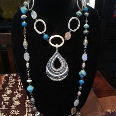 PDJ :  St. Lucia necklace with removable strand used as a short necklace and Pattern Play pendant.