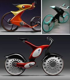 BMW Concept Bikes - It comes as no surprise that some of the coolest-looking bicycle concepts were designed by automaker BMW. It's not clear exactly what these concepts were created for, but with their colorful motorbike-esque shapes and proportions, they Velo Design, Bicycle Design, Motorcycle Design, Bmw Concept, Push Bikes, Electric Bicycle, Cycling Art, Cool Bicycles, Road Bikes