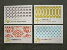 beautifully patterned business cards for Julie Dasher Rugs created by Minneapolis designer Laurie DeMartino