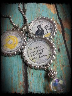 A personal favorite from my Etsy shop https://www.etsy.com/listing/225490236/message-charm-bottle-cap-necklaceno-more