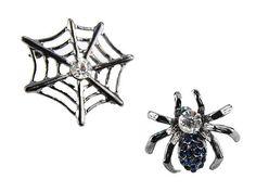 Boo Spider Web Scary Halloween Dark Tone Swarovski Crystal .925 Silver Earrings