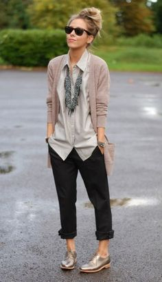creative professional, button up with layer, black trousers, statement necklace