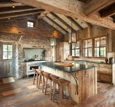Kitchen Ideas, refreshing decor reference 1081652858 - Cheap and smashing notes. diy home decor rustic kitchen styling plan pinned on 20190226 Rustic Kitchen Design, Home Decor Kitchen, Kitchen Ideas, Cabin Kitchens, Log Cabin Homes, Log Cabins, Cabin Interiors, Kitchen Remodel, House Plans