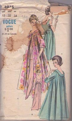 MOMSPatterns Vintage Sewing Patterns - Vogue 5875 Vintage 60's Sewing Pattern AMAZING Glamorous Vanity Fair Style Scoop Neck & Back Nightgown, Negligee, SWEEPING Peignoir, Dressing Gown Robe Size 12