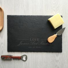 love engraved personalized cheese board custom serving tray wedding anniversary housewarming Christmas gifts for new couple Personalized Cheese Board, Personalized Items, Slate Cheese Board, The Slate, Graduation Gifts, Wedding Anniversary, House Warming, Tray, Messages