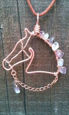 Horse necklace copper horse pendant fluorite by TWhitfieldDesigns More