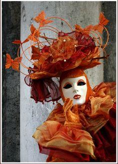 costum, orange mask, masquerad carniv, venetian masks, carnival