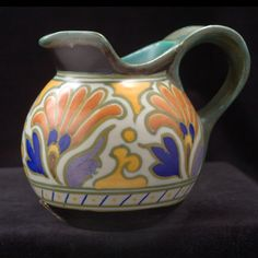 For your consideration, a Gouda Pottery Royal Metz bulbous ewer pitcher. Gouda, Ceramic Pottery, Pottery Art, Pots, Egg Decorating, Vintage Pottery, Clay, Dishes, Orange