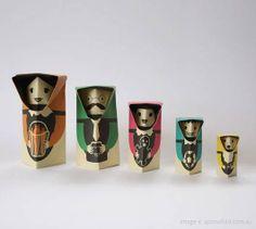 Orimato Dolls via Upon a Fold. A fun new take on Russian Matroyshka nesting dolls.