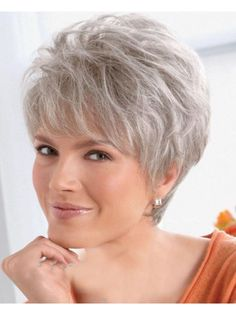Women Lady Wig Short Straight Silver Grey Synthetic Hair Wigs, Grey Wigs For Sale - Short Hair Styles Short Hairstyles Over 50, Short Pixie Haircuts, Short Hairstyles For Women, Wig Hairstyles, Fashion Hairstyles, Hairstyles 2016, Bob Haircuts, Roman Hairstyles, Hairstyle Hacks