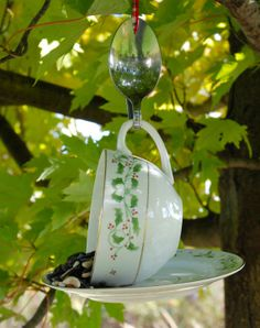 ChristmasTeacup and Saucer Bird Feeder with Hand by aandkaccents, $15.00
