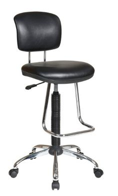 Office Star Pneumatic Drafting Chair with Casters and Chrome Teardrop Footrest Vinyl Stool and Back *** Want additional info? Click on the image.
