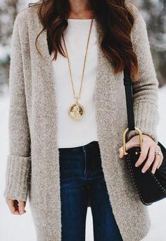 Grey Maxi Cardigan / White Top / Navy Jeans / Black Shoulder Bag