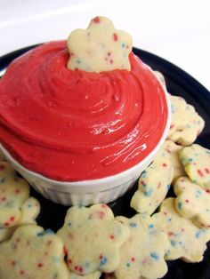 Red Velvet Cake Batter Dip...Greek yogurt, red velvet cake mix and powdered sugar...shortbread cookies with red/blue sprinkles make it perfect for July 4th