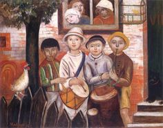 Children's Band by Tadeusz Makowski (Polish), oil on canvas, genre: School of Paris, 1922 Poster Pictures, Reproduction, First Art, Illustrations, Art Festival, Large Wall Art, Oeuvre D'art, Les Oeuvres, Art History