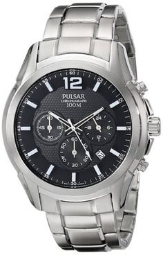 Pulsar PT3625 Men's Watch Chronograph Silver Stainless Steel With Black Textured Dial