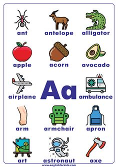 I have designed printable English alphabet posters for every letter to display on my classroom walls. The traditional one-sheet ABC poster. Letter A Words, Alphabet Words, Alphabet Phonics, Alphabet Writing, Printable Alphabet, Alphabet Posters, Zoo Phonics, Alphabet Charts, Jolly Phonics