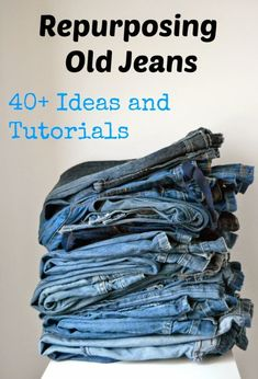Repurposing Old Jeans: 40 Ideas and Tutorials - Sara @ Made by Sara - Guest Post - Serger Pepper If you're like me, you have a huge (and growing) pile of denim trousers. Today Sara @ MadeBySara is sharing repurposing old jeans ideas… Repurposing Old Jea Sewing Hacks, Sewing Tutorials, Sewing Crafts, Sewing Patterns, Sewing Tips, Clothing Refashion Tutorials, Sewing Ideas, Jeans Refashion, Free Tutorials
