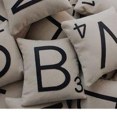 'scrabble tile' pillows  :)