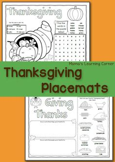 Download a set of Thanksgiving placemats for your young learner!