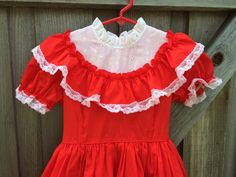 Vintage Ruffle Dress Girls 5/6 by lishyloo on Etsy