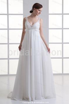 Beading Sleeveless A-Line Spring/ Fall V-neck Wedding Dresses