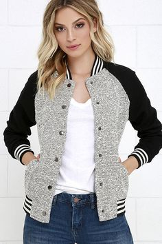Olive & Oak Batter Up Black and White Baseball Jacket at Lulus.com!