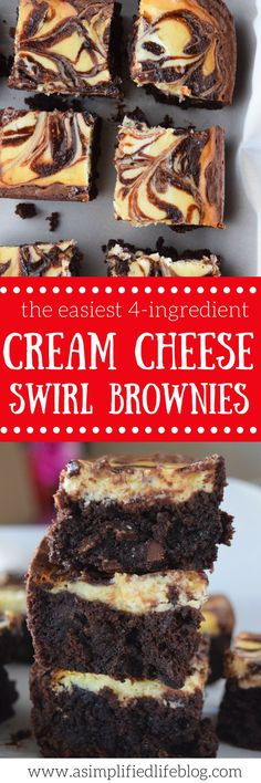 Easiest Cream Cheese Swirl Brownies These cream cheese swirl brownies are so easy to make! I can't believe they use a boxed brownie mix!These cream cheese swirl brownies are so easy to make! I can't believe they use a boxed brownie mix! Brownie Recipes, Cookie Recipes, Dessert Recipes, Bar Recipes, Appetizer Recipes, Vegan Recipes, Chocolate Cake Mixes, Chocolate Chip Cookie Dough, Chocolate Cheese