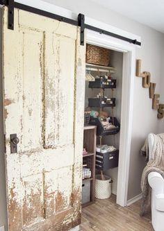 Finally a step-by-step walkthrough on how to install an antique barn door! - Finally a step-by-step walkthrough on how to install an antique barn door! Antique French Doors, French Antiques, French Door Decor, Barn Door Tables, Old Doors, Entry Doors, Sliding Doors, Patio Doors, Front Doors