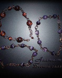 Мягкие медные браслеты с бусинами аметиста и бычьего глаза. Soft copper bracelets with amethyst and bull's eye beads. Wire Wrapped Jewelry, Natural Stones, Women Jewelry, Wire Wrap Jewelry, Wire Jewelry