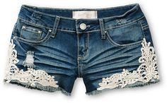 Almost Famous Kara Crochet Medium Wash Denim Shorts at Zumiez : PDP